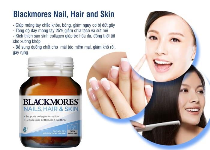 VIên uống Blackmores Nail, Hair and Skin 60 viên là một sản phẩm với công thức hoàn chỉnh để cung cấp dưỡng chất cần thiết nuôi dưỡng da, móng và tóc khỏe đẹp