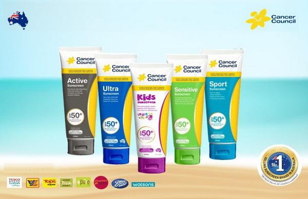 Các dòng sản phẩm Kem Cancer Council Úc