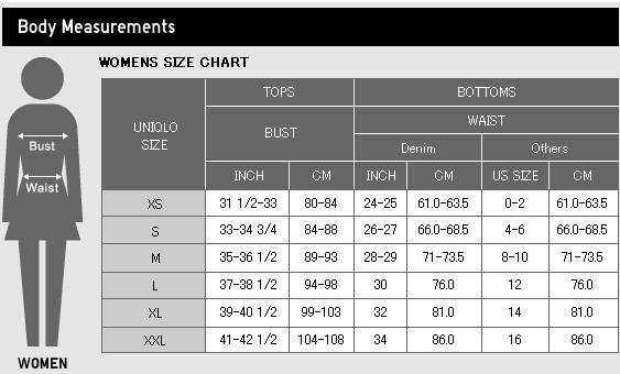 Tính cỡ áo sinh nhiệt UNIQLO (dành cho Nữ)