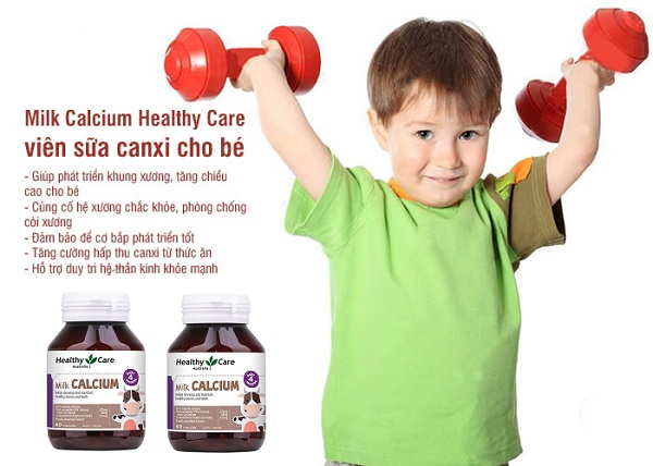 VIên bổ sung Canxi Healthy Care cho bé - giúp bé phát triển hệ xương răng, cao lớn vượt trội