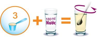 Pha 3 thìa sữa blackmores số 2 với 180ml nước