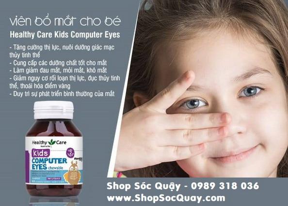 Kẹo bổ mắt Healthy Care Kids Computer Eyes bảo vệ đôi mắt của bé yêu trước các tác động của ánh sáng xanh, máy tính, điện thoại, ti vi,...