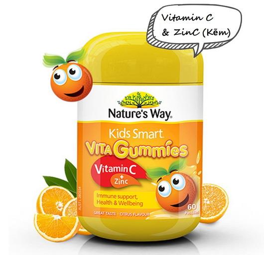 Kẹo dẻo nature's way vita gummies Vitamin c + Zinc giúp tăng cường hệ miễn dịch cho bé