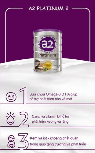 Sữa A2 số 2 nắp tím với nhiều ưu điểm vượt trội