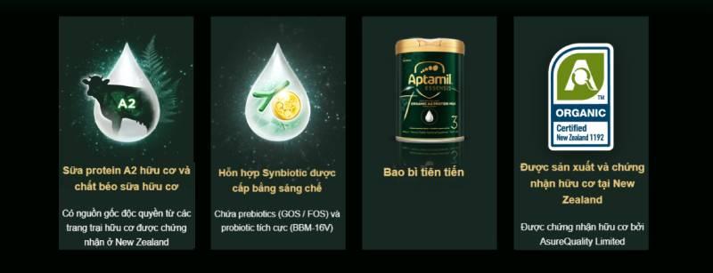 Sữa Aptamil Essensis số 3 - Sữa hữu cơ với nguồn protein A2 dễ tiêu hóa