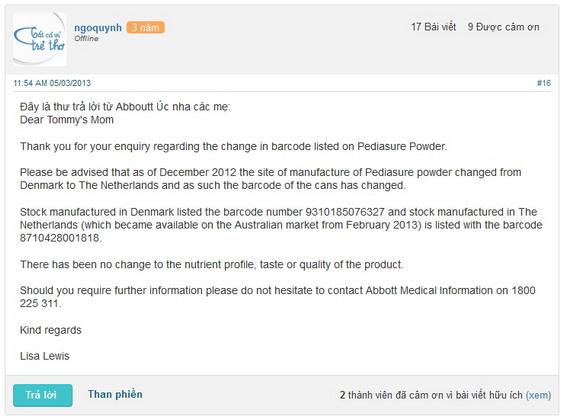 Thư làm rõ việc thay đổi mã vạch trên sản phẩm sữa PediaSure Úc từ 931...(sản xuất tại Đan Mạch) sang 871...(sản xuất tại Hà Lan)